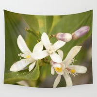jasmine Wall Tapestries featuring Jasmine Flower by NL Designs