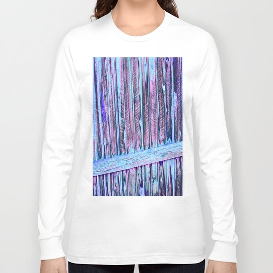 Blue Abstract Fence Long Sleeve T-shirt