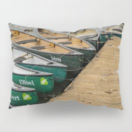 Kayaks and canoes moored to a wooden staging on Salhouse Broad Pillow Sham