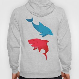 Blue Dolphin and Red Shark Olympic Hoody