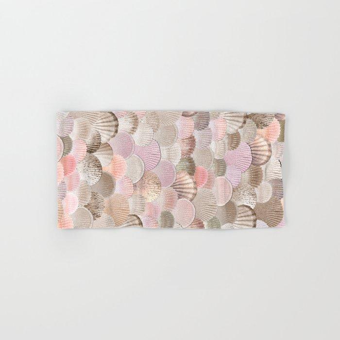 MERMAID SHELLS - CORAL ROSEGOLD Hand & Bath Towel