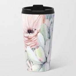 Elegant Blush Pink Succulent Garden by Nature Magick Travel Mug