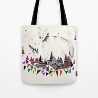 kris tate Tote Bags featuring TENDER MOUNTAIN  |  by Kristy Lynn + Kris Tate by Kristy Lynn