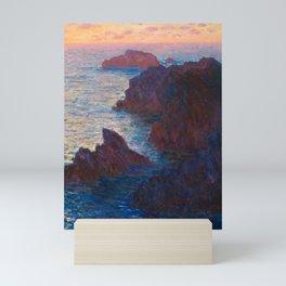 Claude Monet Impressionist Landscape Oil Painting Sunset At Sea Cliffs Ocean Cliff Landscape Mini Art Print