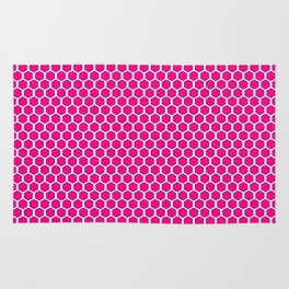 Pink and White Honeycomb Rug