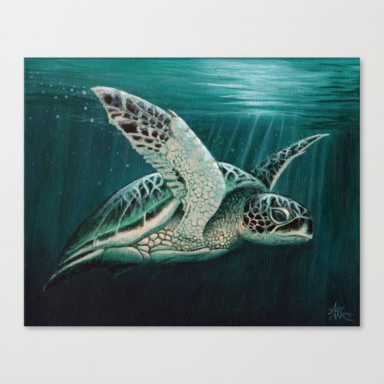 """Moonlit"" by Amber Marine - Sea Turtle, Acrylic Painting, (Copyright 2015) Canvas Print"