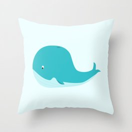 Cute Willy the Whale Art Print Throw Pillow