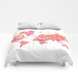 "Travel watercolor world map in hot pink and orange, ""Tatiana"" Comforters"
