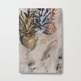 GOLD AND SILVER PINEAPPLES IN THE SAND Metal Print