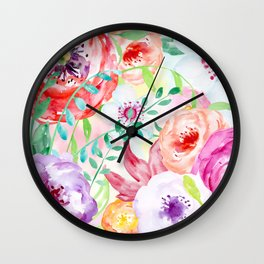 Watercolor Vibrant Flowers Red and Purple Wall Clock