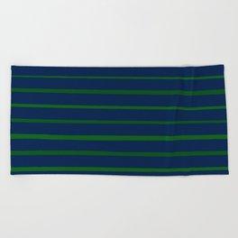 Slate Blue and Emerald Green Stripes Beach Towel