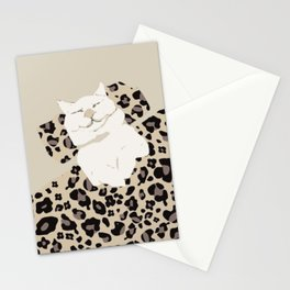 Sleepy cat leopard skin Stationery Cards