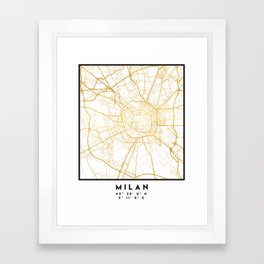 MILAN ITALY CITY STREET MAP ART Framed Art Print