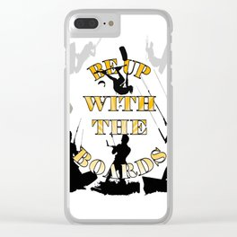 Be Up With The Boards Yellow Text And Kitesurfer Vector Clear iPhone Case
