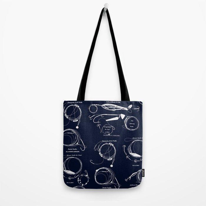 Maritime pattern- white fishing gear on darkblue background Tote Bag