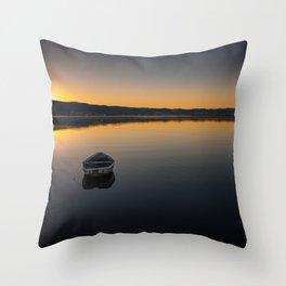 Boat on Knysna lagoon at Sunrise Throw Pillow