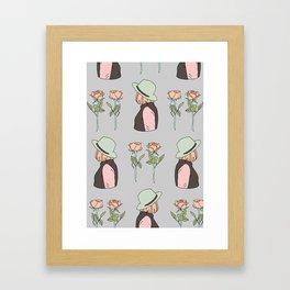 girls and roses Framed Art Print
