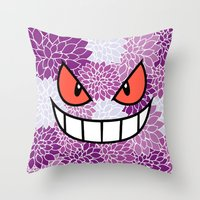 gengar Throw Pillows featuring Floral Gengar by Mischievie