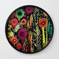 fabric Wall Clocks featuring printemps (old fabric) by sylvie demers