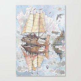 Il Veliero Volante e la Città Mongolfiera Canvas Print