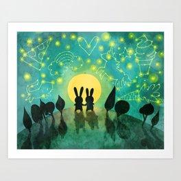 Bunny Constellation Gazing Art Print