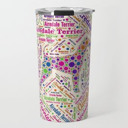 Airedale Terrier Fun Dot Art and Word Pattern Travel Mug