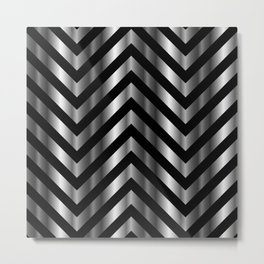 High grade raw material stainless steel and black zigzag stripes Metal Print