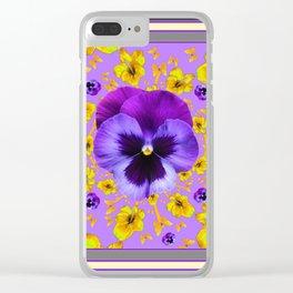 AMETHYST PANSIES YELLOW BUTTERFLIES & FLOWERS Clear iPhone Case
