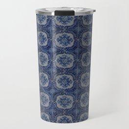Vintage blue ceramic tiles pattern Travel Mug