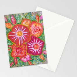 Orange Fantasy Flowers Stationery Cards