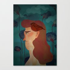 lady with bird Canvas Print