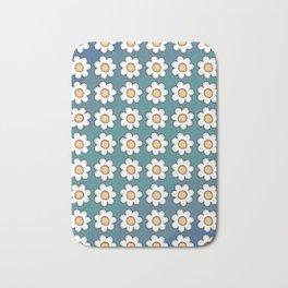 Retro Doodle Mini Flower - Blue and Yellow Bath Mat