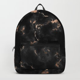Rose Gold and Black Marble Backpack