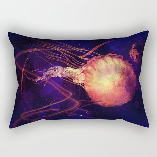 Jellyfish of the Blacklight Electro Rave Rectangular Pillow