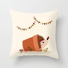 Hérisson et papillon Throw Pillow