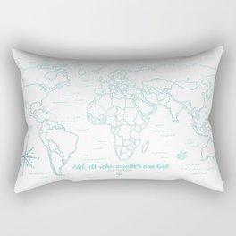 Where We've Been, World, Icy Blue Rectangular Pillow