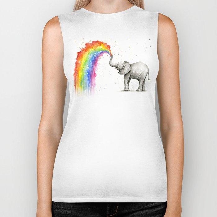 Baby Elephant Spraying Rainbow Biker Tank