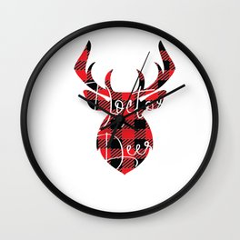 Doctor Deer Christmas Pajama Red Plaid Buffalo Matching product Wall Clock