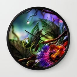 Passion Flower Orchid Amazon Rainforest Still Life Painting by Jeanpaul Ferro Wall Clock