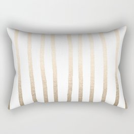 Simply Drawn Vertical Stripes in White Gold Sands Rectangular Pillow