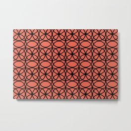 Pantone Living Coral and Black Rings, Circle Heaven 2, Overlapping Ring Design Metal Print