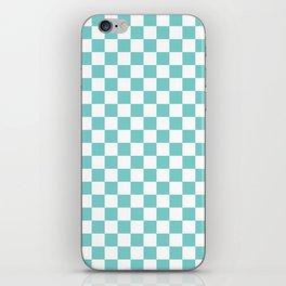 Aqua Checkerboard Pattern iPhone Skin