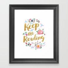 Keep On Reading Gold Foil Framed Art Print