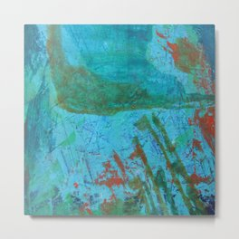 Blue ocean - abstract,acrylic, minimal art piece in shades of blue Metal Print