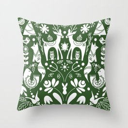 Holiday Folk art in green and white Throw Pillow