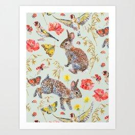 Bunny Meadow Pattern - Green Art Print