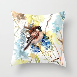 Sparrow, bird and flowers vintage style watercolor design sparrow Throw Pillow