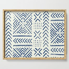 Line Mud Cloth // Ivory & Navy Serving Tray