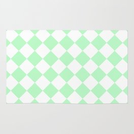 Diamonds - White and Mint Green Rug
