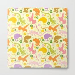Animals Exotic Pastel Colors Shapes Pattern Metal Print